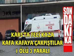 Kars'ta Feci Kaza 2 Araç Kafa Kafaya Çarpıştı 1 Ölü 3 Yaralı