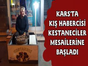 Kars'ta Kışın Habercisi Kestane Satıcıları Mesailerine Başladı