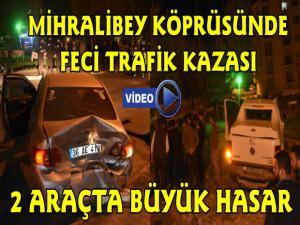 Kars'ta Mihralibey Köprüsünde Feci Trafik Kazası 2 Araçta Büyük Hasar