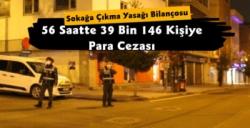 56 Saatlik Sokağa Çıkma Kısıtlamasında 39 Bin Kişiye Para Cezası