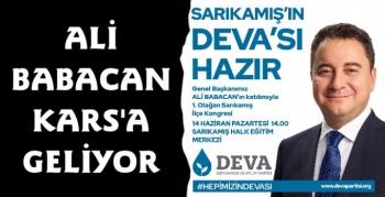 Deva Partisi Lideri Ali Babacan Kars'a Geliyor