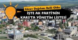 Kars AK Parti'de Görevler Belli Oldu