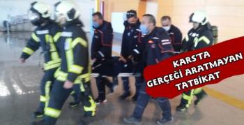 Kars Harakani Havalimanı'nda Gerçeği Aratmayan Tatbikat