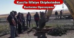 Kars'ta İtfaiye Ekiplerinden Kurtarma Operasyonu