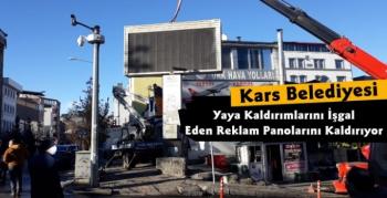Kars'ta Kullanılmayan Reklam Panoları Kaldırılıyor