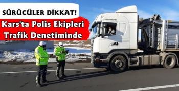 Kars'ta Polis Ekiplerinden Trafik Denetimi