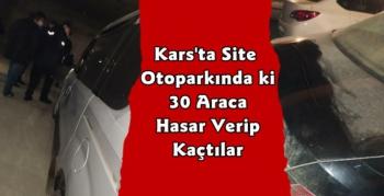 Kars'ta Site Otoparkında Park Halindeki Araçlara Zarar Verdiler