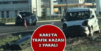 Kars'ta Trafik Kazası 2 Yaralı