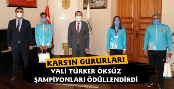 Vali Öksüz Karslı Türkiye Şampiyonu Sporcuları Ödüllendirdi
