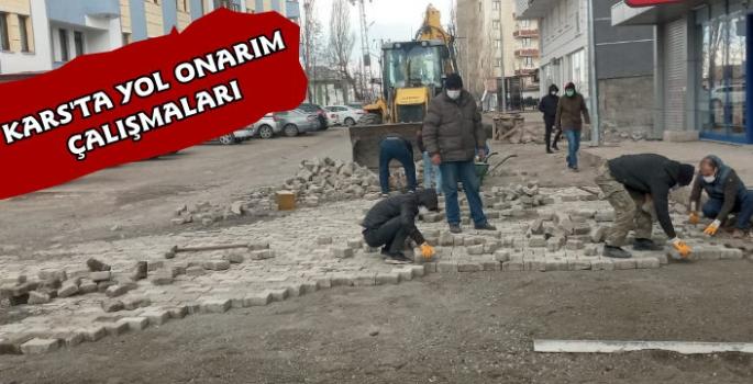 Kars Belediyesi'nden Parke Taşlı Yollarda Onarım
