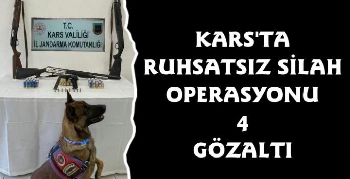 Kars Jandarmadan Ruhsatsız Silah Operasyonu 4 Gözaltı