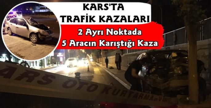 Kars'ta 2 Ayrı Noktada 5 Aracın Karıştığı Trafik Kazası